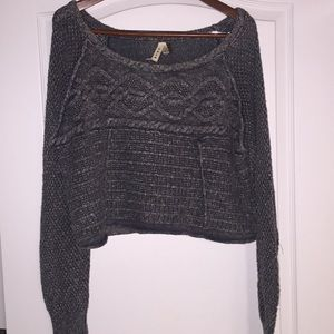 Free People crop, cotton, cable, ots sweater